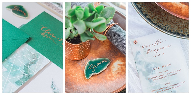 emerald and copper wedding stationery menus and agate slice