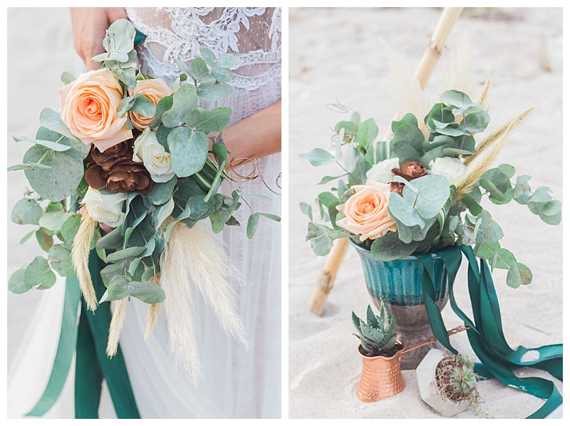 peach and copper roses with eucalyptus and pampass grass