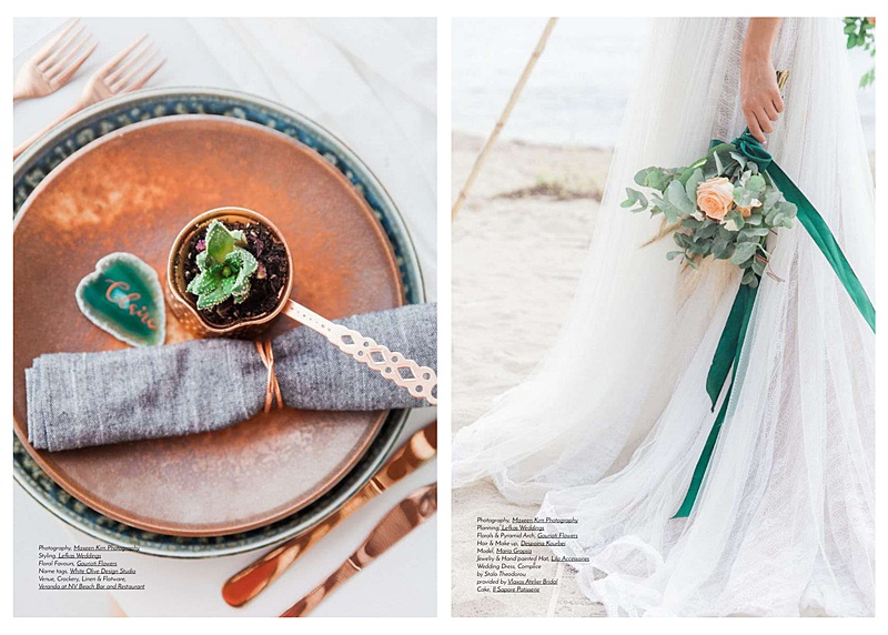 copper plates and emerald details for wedding inspiraiton shoot