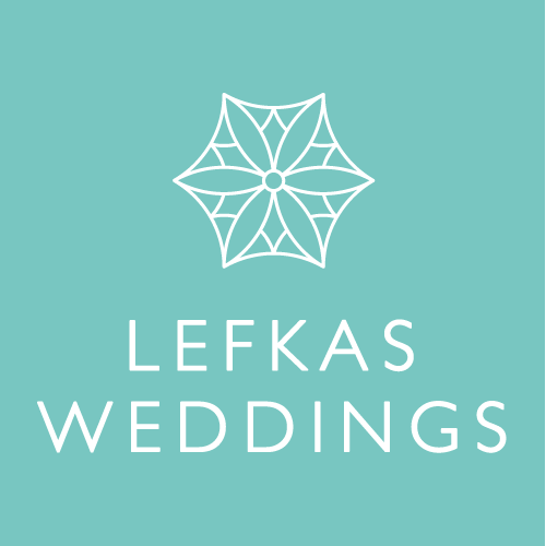 Blue and White Geometric Flower Logo for Lefkas Weddings