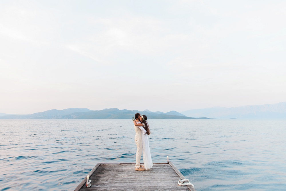 Couple Hugging on their Wedding Day planned by Lefkas Weddings