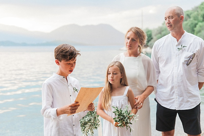 Family vow renewal ceremony at the beach