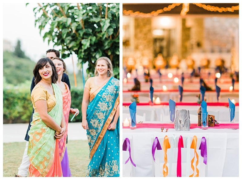 Indian inspired wedding decoration with bright colours and sari outfits