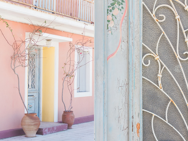 Pastel Doors and Buildings in Lefkas Town on the island of Lefkada in Greece
