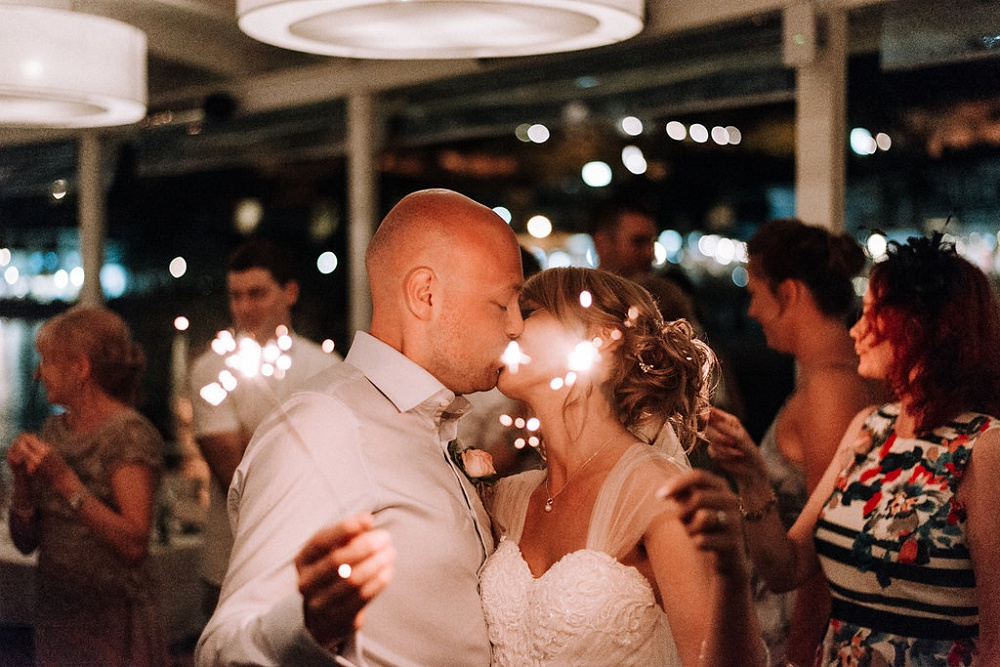 Couples sparkler Kiss at Parga Wedding by Lefkas Weddings