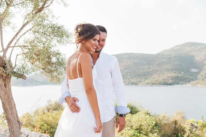 Happy Couple During Their First Look At Their Elopement on Lefkada