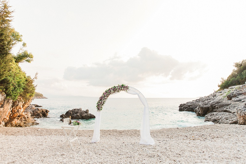 Ceremony Area for A Secret Beach Elopement On Lefkada