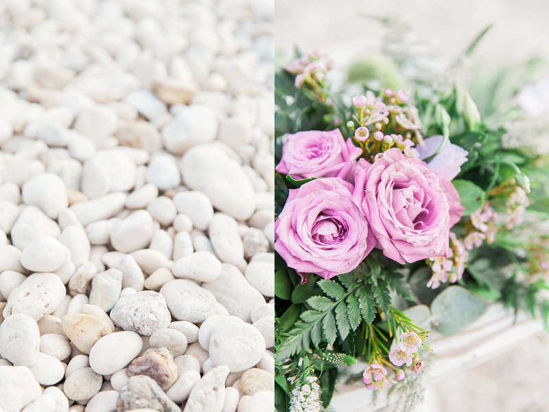 Image of Lilac Flowers And Pebbles for A Secret Beach Wedding on Lefkada