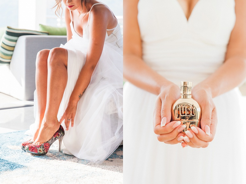 Bride with her Shoes and Perfume on the Morning of her Lefkada Elopement
