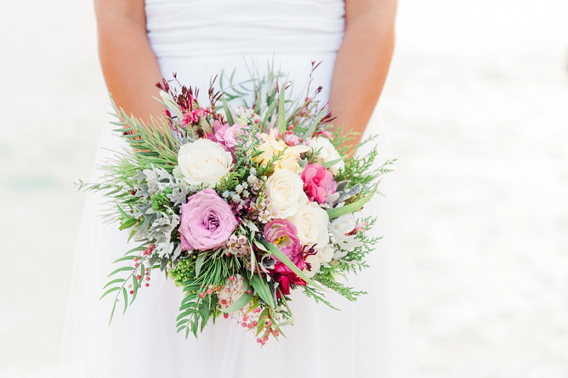 Brides Lilac, Pink and White Bouquet with a Beach Background