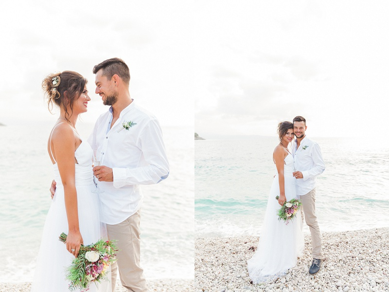 Bride and Grooms Portraits on the Beach After Their Secret Elopement