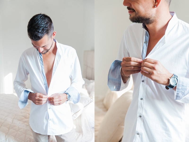 Groom Dressing Ahead of His Secret Beach Elopement On Lefkada