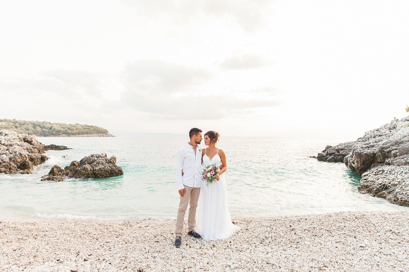 Couple on the Beach After their Secret Elopement on Lefkada