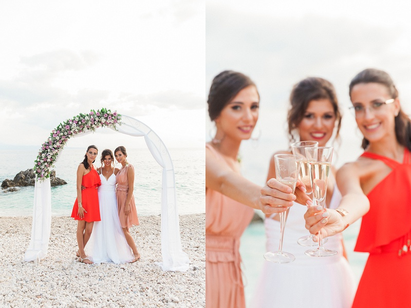 Bride And Her Girls Celebrating on the Beach in Lefkada