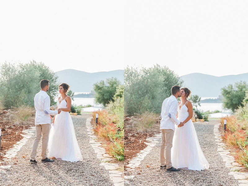 Bride and Grooms First Look Before Their Secret Beach Elopement on Lefkada