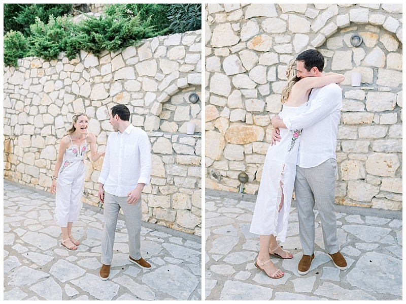First look of Groom seeing Bride at villa before elopement cerermony in Meganisi