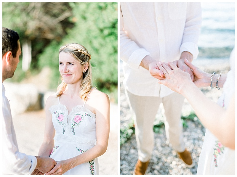 Close up of Bride in white jumpsuit at beach elopement in Meganisi Greece