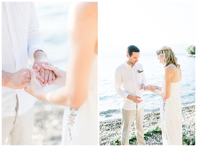 Close up of Bride and Groom holding hands at beach elopment Meganisi Greece