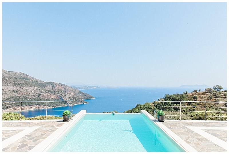 Panoramic view of swimming pool and sea from terrance of luxury villa in Sivota Lefkada