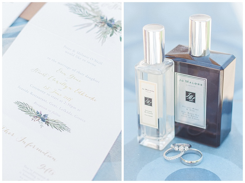 Bride Jo Malone perfume bottles and wedding rings and olive wedding stationery