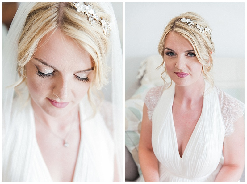 Close up of bride makeup and hair with eyes open and closed