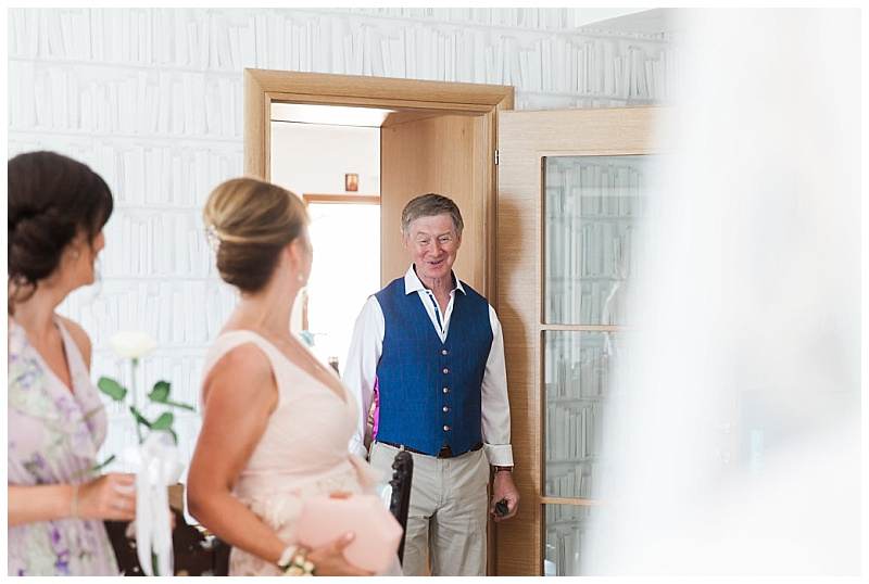 Father entering room and seeing his daugher as a bride for first time