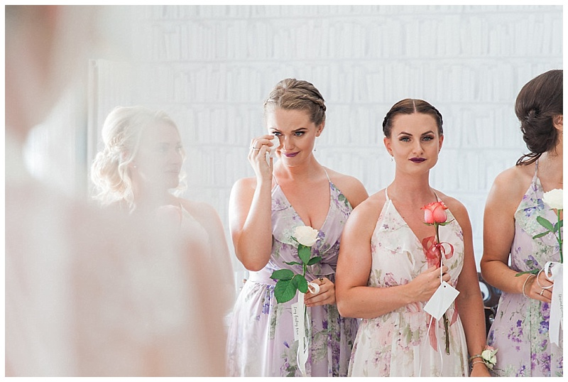 Bridemaid's emotional reaction to watching Father see his daughter ready for her wedding