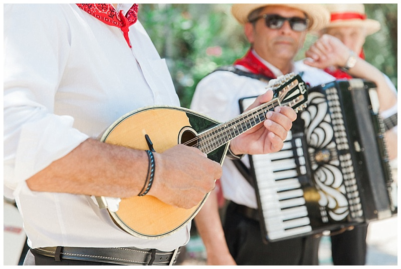 Traditional wedding musicians with bazouki and accordian lefkada