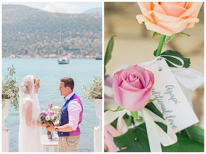 Close up of roses tagged with Greek words for love for spring wedding ceremony in lefkada