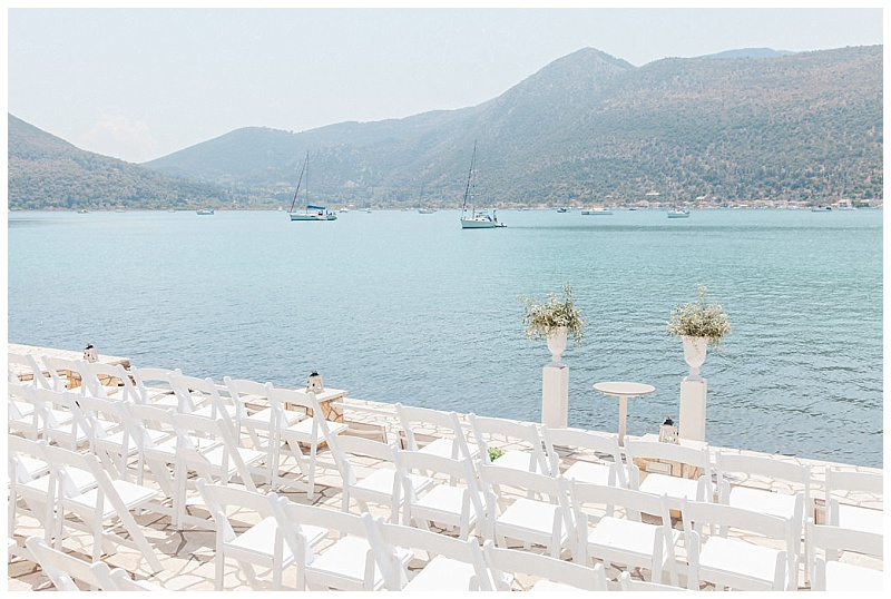 spring wedding ceremony lefkada island at seaside restaurant terrace
