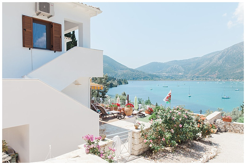 Sea view of Vlyho Bay from wedding villa in Lefkada