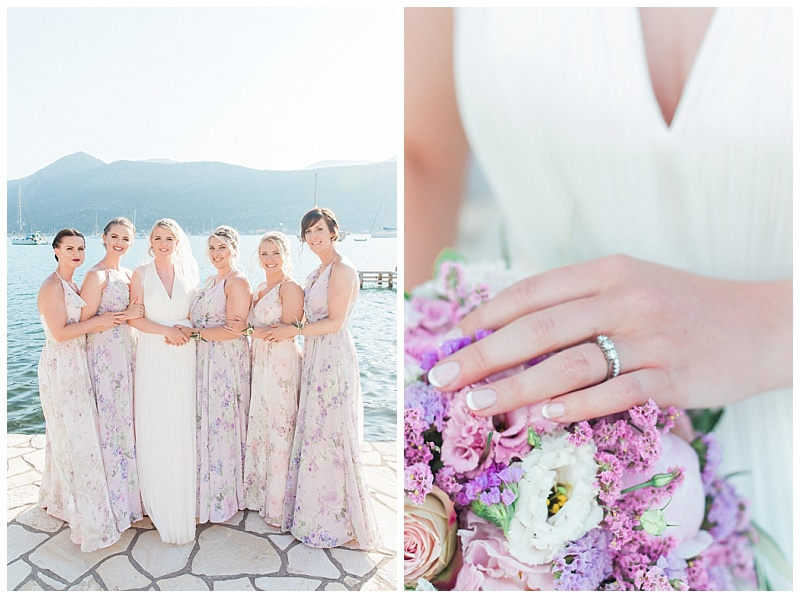 Bride with five bridesmaids in long pastel flower print dresses
