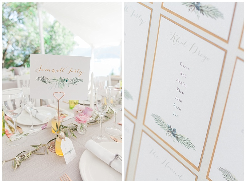 Game of Thrones wedding table stationery with olive details