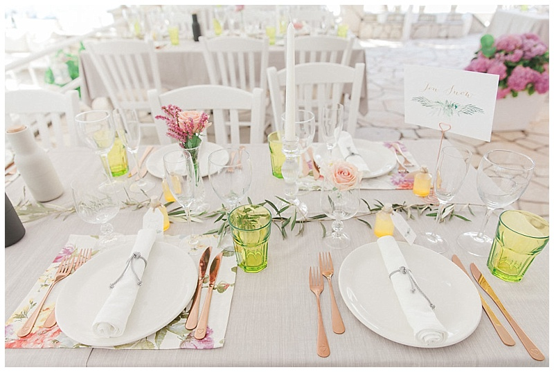Wedding table decor with floral placemats olive and copper cutlery