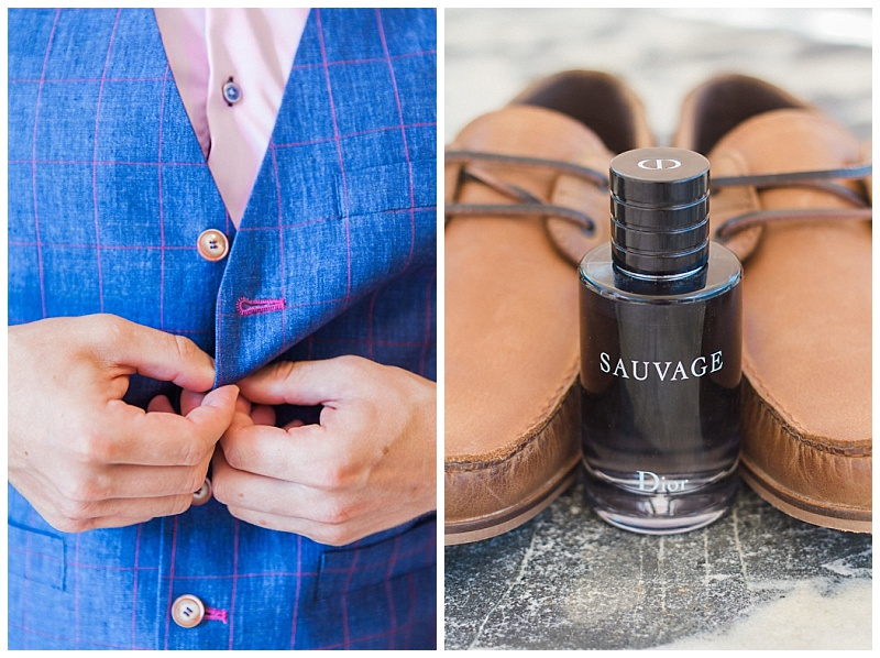 Groom buttoning waistcoast with leather deck shoes and Dior Sauvage