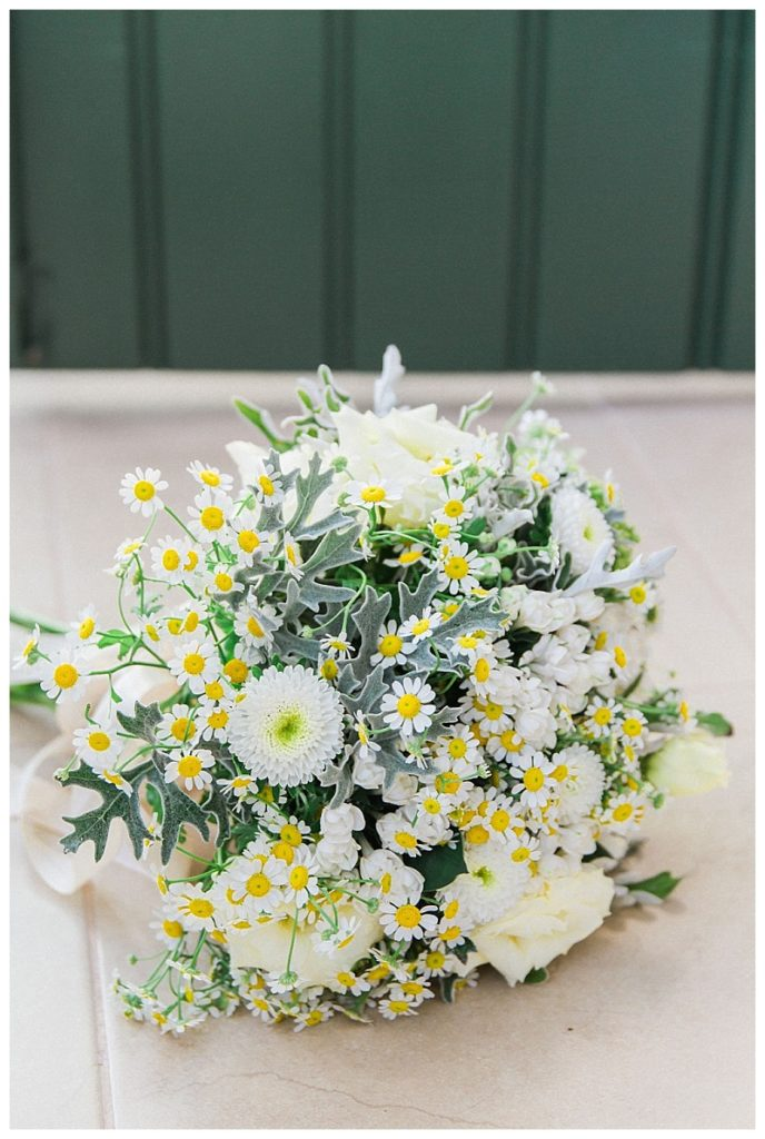 white yellow and green bride bouquet by greek door