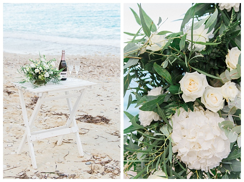 Elopement ceremony table on the sand at Agios Nikitas in Lefkada