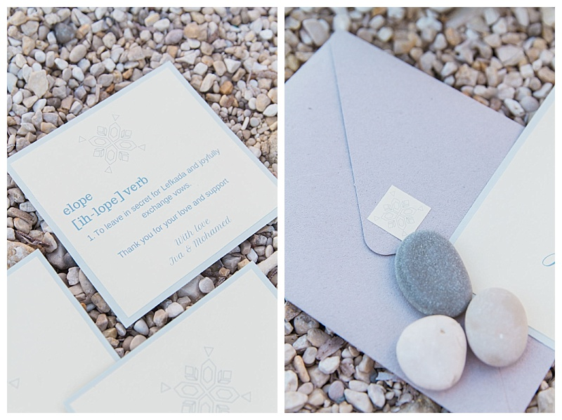 beach elopment inspiration stationery close up