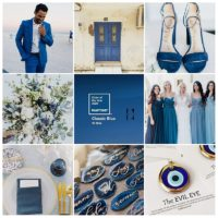 Collage of nine pictures for wedding inspiration in classic blue colour