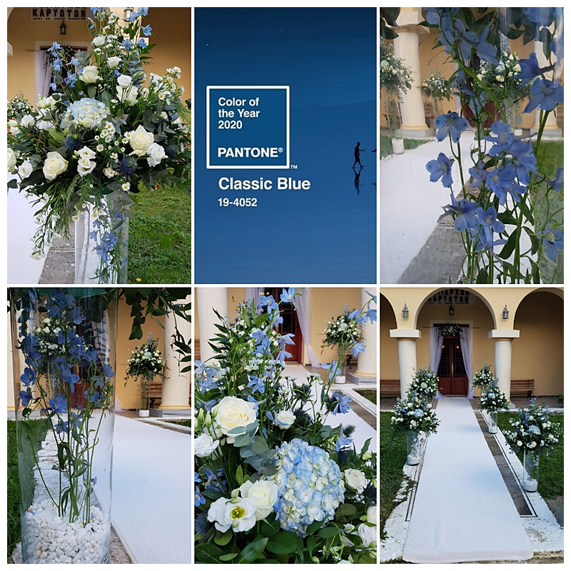 Collage of six pictures for wedding inspiration of blue delphinium wedding flowers