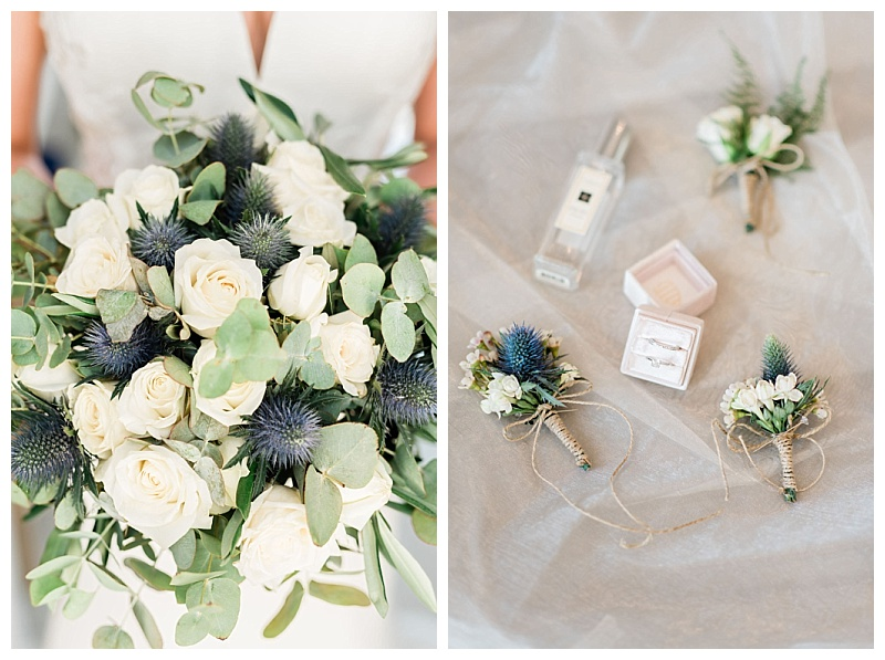 bride bouquet of white roses and blue eryngium thistle with thistle buttonhole