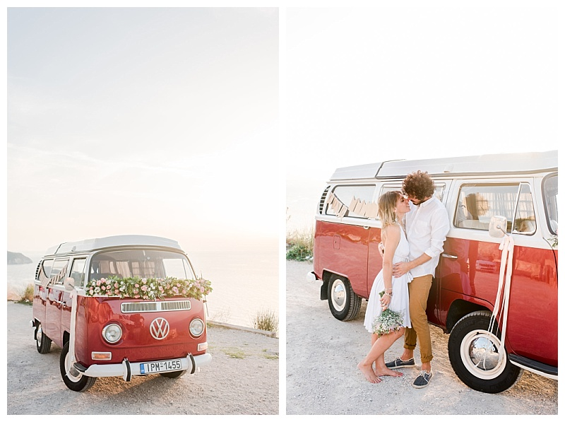 couple with bouquet and decorated vw camper van
