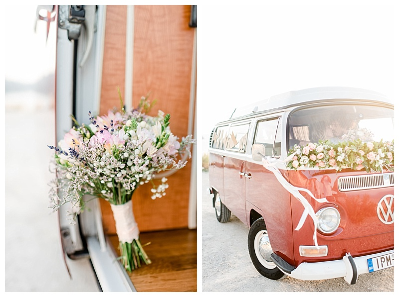 vw red camper van decorated with flowers and ribbons for wedding on greek island