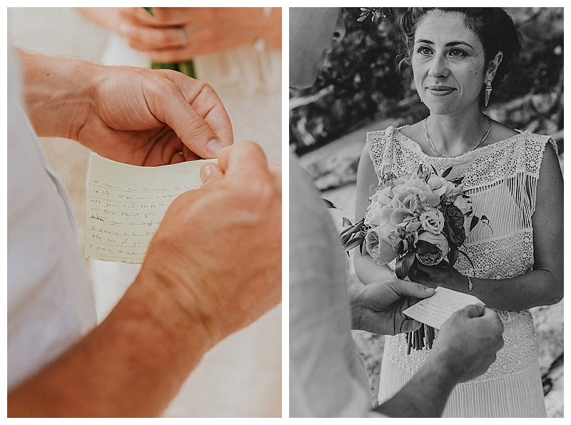close up of groom hands holding wedding vows and bride reaction