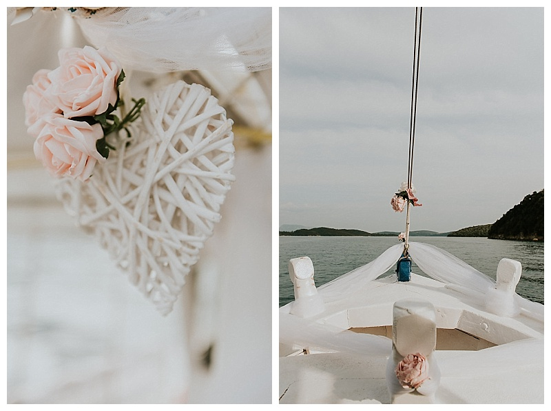 floral wedding decoration on caique boat