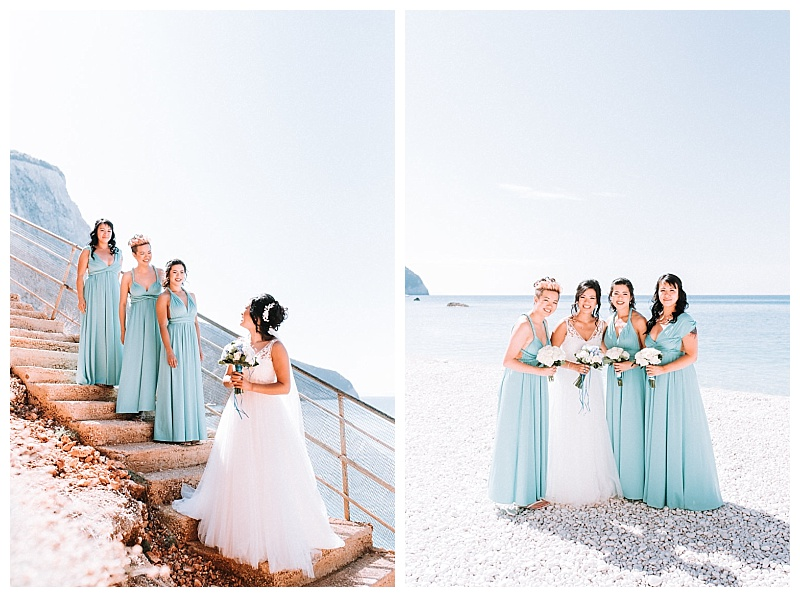 bride and bridesmaid in aqua multiway maxi dresses on Porto Katskiki beach Lefkada