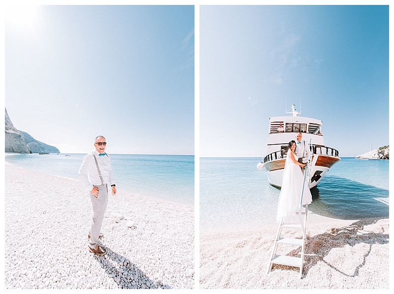 bride and groom on steps of boat at porto katsiki beach lefkada