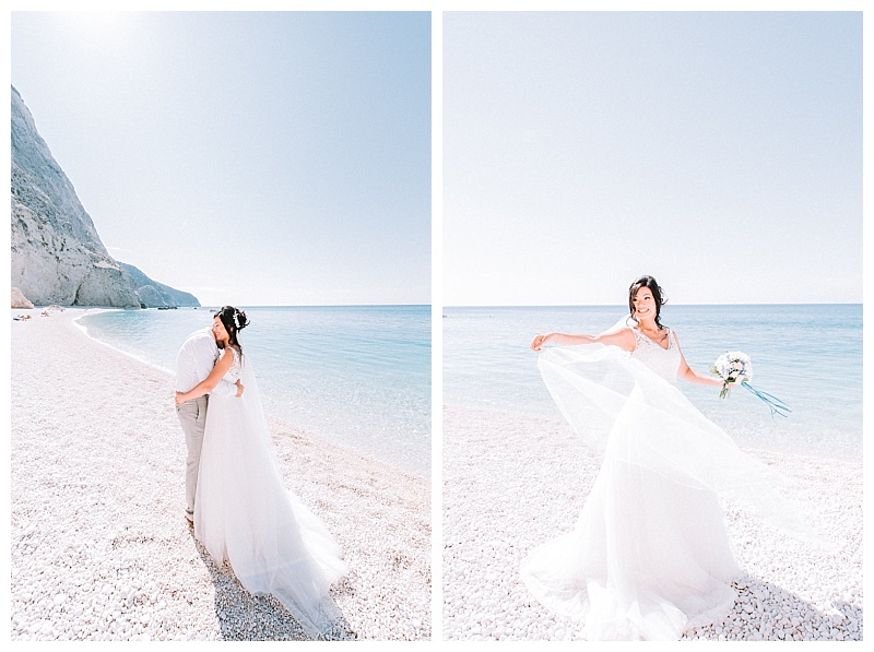 bride with bouquet on the sand at porto katsiki beach lefkada