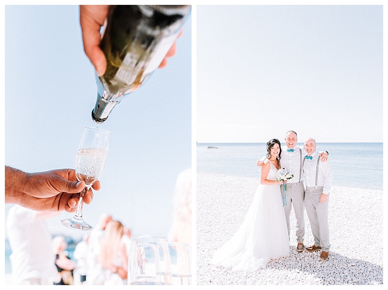 close up of champagne pouring at porto katsiki beach wedding
