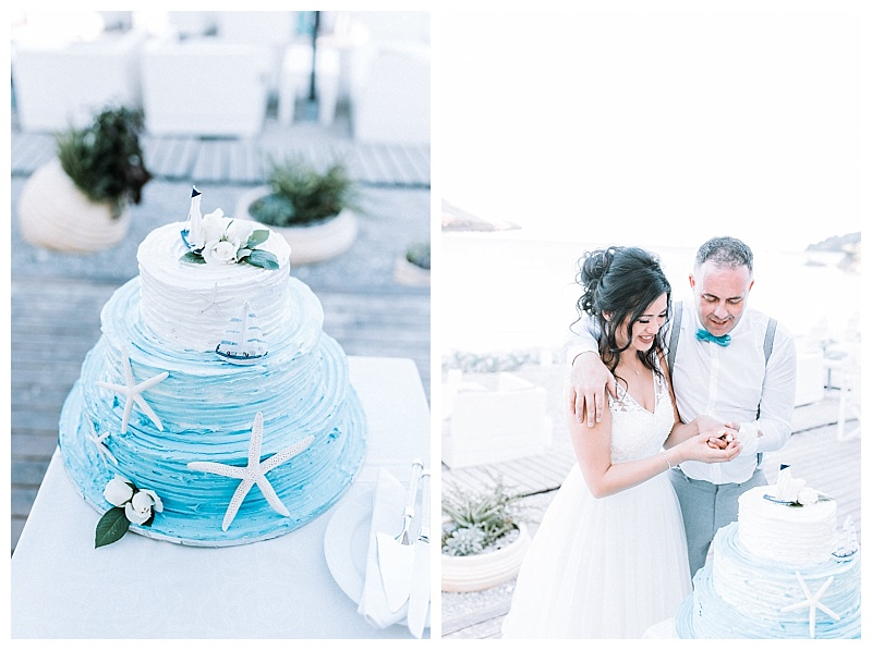 blue and white beach theme wedding cake